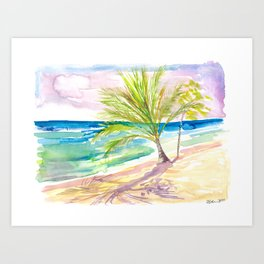 Sandy Beach in Barbados with Caribbean Vibes Art Print