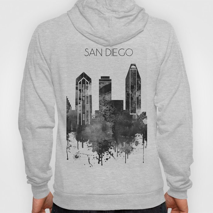 Black and white watercolor San Diego skyline Hoody