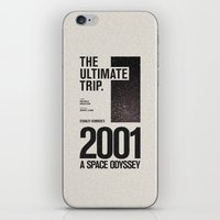 2001 a space odyssey iPhone & iPod Skins featuring 2001: A Space Odyssey Movie Poster by Sam Peckham