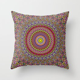 Magic Ornamental Garden Mandala Throw Pillow