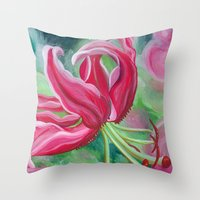 lily Throw Pillows featuring lily by Beth Jorgensen