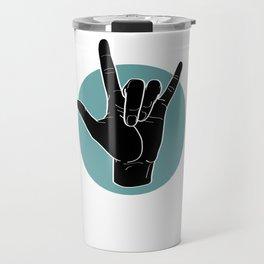 ILY - I Love You - Sign Language - Black on Green Blue 00 Travel Mug