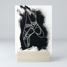 Outline of Ballet Pointe Shoes on Black Background Mini Art Print