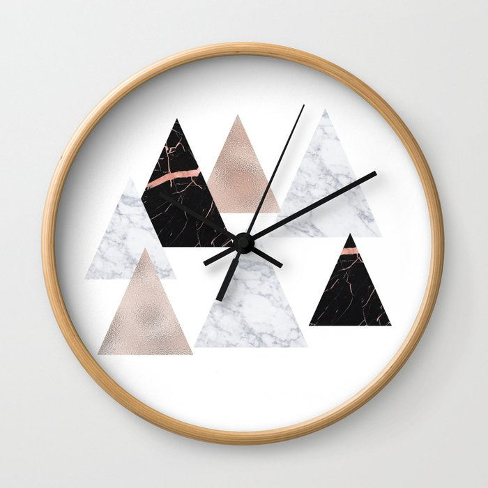 Marble rose gold geometric triangles Wall Clock