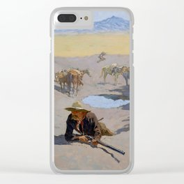 """Frederic Remington Western Art """"Fighting for the Waterhole"""" Clear iPhone Case"""