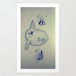 Dive into the blue ocean Art Print