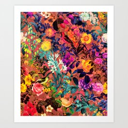 Floral and Birds II Art Print