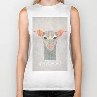 greyhound Biker Tanks featuring Greyhound  by Alice Maclean Smith