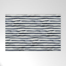 Simply Shibori Stripes Indigo Blue on Lunar Gray Welcome Mat