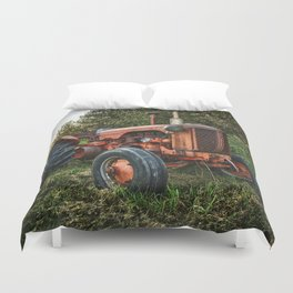 Vintage old red tractor Duvet Cover