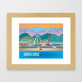 Santa Cruz, California - Skyline Illustration by Loose Petals Framed Art Print