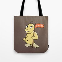 cookie monster Tote Bags featuring Funny Cartoon Cookie Monster by Boriana Giormova