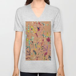 Coral Reef abstract terracotta textile art digital  Unisex V-Neck