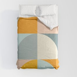 Summer Evening Geometric Shapes in Soft Blue and Orange Comforters