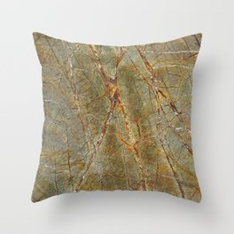 Forest Green Marble Throw Pillow