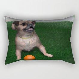 Dog playing with ball in Toronto park Rectangular Pillow