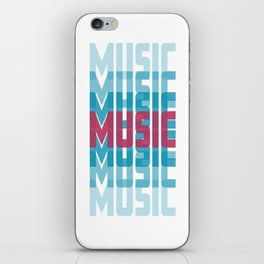 Music (texts in neon) iPhone Skin