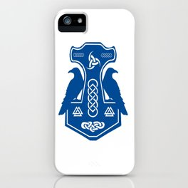 Blue Thor's Hammer With Ravens iPhone Case