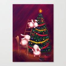 Chubby bunnies decorate the tree Canvas Print