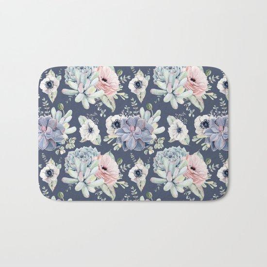 Beautiful Succulent Garden Navy Blue + Pink Bath Mat