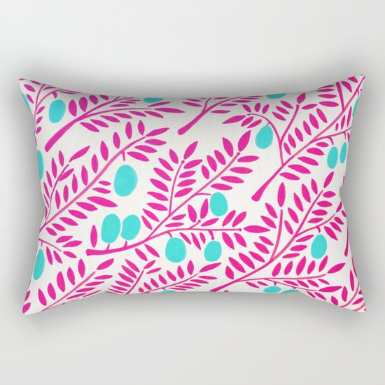 Olive Branches – Pink Ombré & Turquoise Rectangular Pillow
