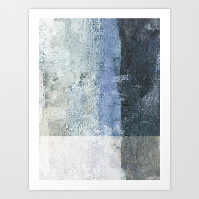 Blue Colorblock Contemporary Abstract Painting Art Print By