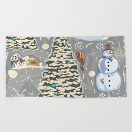Bunny and Snowman Beach Towel