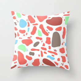 Coral Messy Mosaic Throw Pillow
