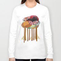 plain Long Sleeve T-shirts featuring Red Panda by Sandra Dieckmann