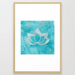 Lotus Flower on Aqua Framed Art Print