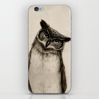 dude iPhone & iPod Skins featuring Owl Sketch by Isaiah K. Stephens