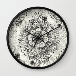 Messy Boho Floral in Charcoal and Cream  Wall Clock