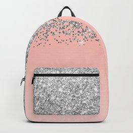 Girly Chic Silver Confetti Pink Gradient Ombre Backpack