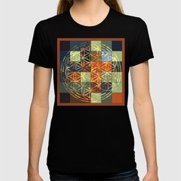 Flower Of Life Modern Squares Mosaic T-shirt
