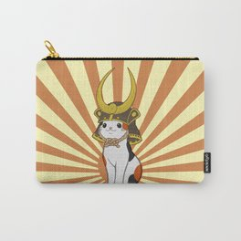 Japanese Bobtail Cat Wears Samurai Hat Carry-All Pouch
