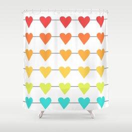 Rainbow Horizontal Heart Strings Shower Curtain