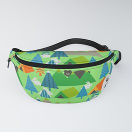 Forest with cute little bunnies and bears Fanny Pack