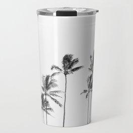 Hawaii Palm Trees - Black and White Travel Mug