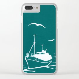 Comrades in Turquoise Clear iPhone Case