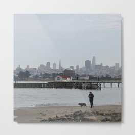 Dog Walking in San Francisco Crissy Field Metal Print