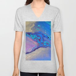 Slow Down Purple - Ultra Violet and Blue Fluid Pour Painting Abstract Unisex V-Neck