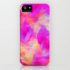 BOLD QUOTATION, Revisited - Intense Raspberry Peachy Pink Vibrant Abstract Watercolor Ikat Pattern iPhone (5, 5s) Slim Case