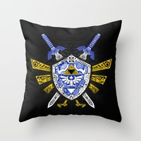 the legend of zelda Throw Pillows featuring Heroes Legend - Zelda by Art & Be