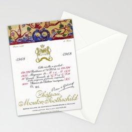 Vintage 1968 Chateau Rothschild Wine Bottle Label Print Stationery Cards