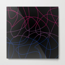 Abstract Threads – Bisexual Pride Flag Metal Print