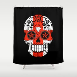 Sugar Skull with Roses and Flag of England Shower Curtain