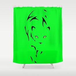 Big Cat Stalking Outline Art Shower Curtain