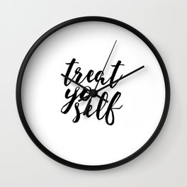 Parks and Recreation Print Treat Yo Self Print Funny Quote Print Typography Poster Scandinavian Wall Clock