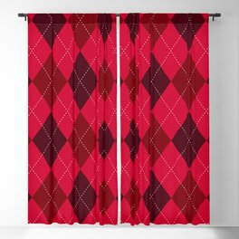 Classic Red Argyle Pattern Blackout Curtain