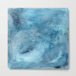 Wish for You, textured abstract turquoise art Metal Print